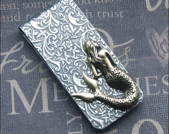 Mermaid Money Clip Silver Money Clip Brass Mixed Metals Father's Day Gift Groomsmen Wedding MERMAID Credit Card Holder Gift Luxury Sea Siren
