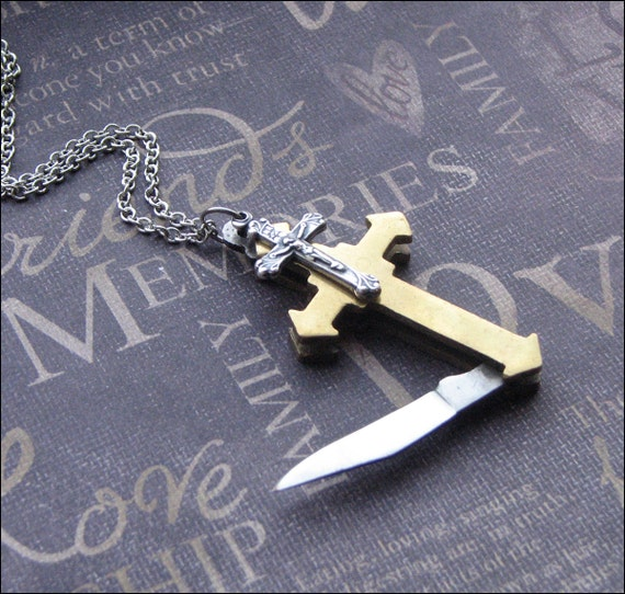 Vintage Cross Knife Necklace Enchanted Faith Jewelry By Etsy