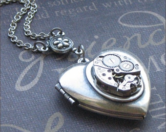 Silver Heart Locket Necklace - Enchanted Mechanical Heart - Jewelry by TheEnchantedLocket - SPECIAL Bride Wedding Anniversary Love You Gift