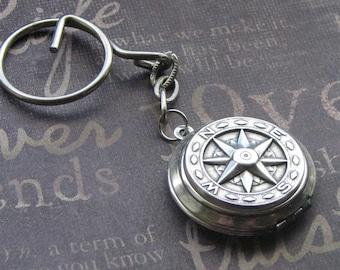 Compass Keychain Locket, Key Chain Locket, Compass Jewelry, Locket Key Fob, Silver Compass Locket, True North Keychain Locket, UNISEX Gift