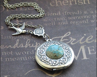 Silver Bird Locket Necklace - Enchanted Robin Egg - Jewelry by TheEnchantedLocket - PRETTY Mother Wedding Anniversary Gift