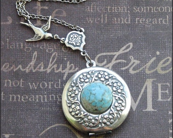 Silver Wreath Locket Necklace - Enchanted Robin Egg - Jewelry by TheEnchantedLocket - ORIGINAL New Mother Wife Anniversary Gift