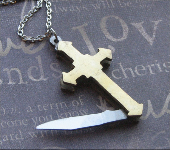 Cross Knife Necklace Pocket Knife Jewelry Vintage Cross Etsy