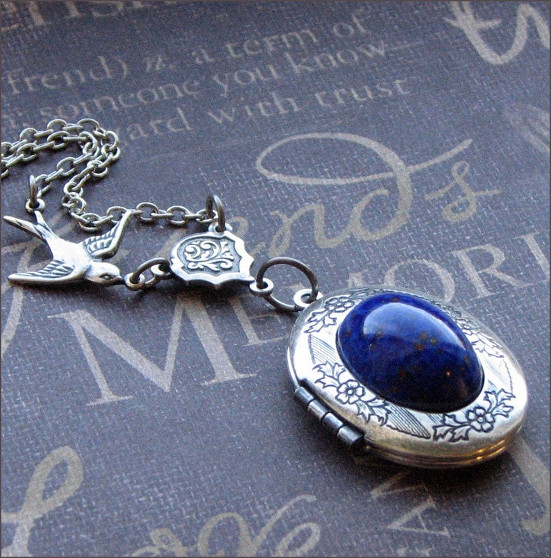 b028a503266df Silver Oval Locket Necklace Enchanted Lapis Lazuli Jewelry