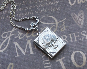 Silver Tree Book Locket Necklace - Enchanted Tree of Life - Jewelry by TheEnchantedLocket - PRETTY Wife Wedding Birthday Gift