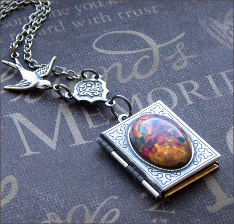 df516f83fae24 Silver Locket Necklace - Enchanted Fire Opal - By TheEnchantedLocket