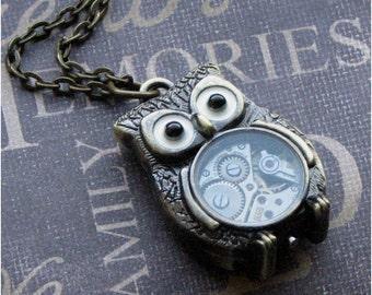 Owl Jewelry, Steampunk Jewelry, Owl, Owl Necklace, Long Necklace, Steampunk Necklace, Teacher Gift, Steampunk Wedding, Watch Necklace GIFT