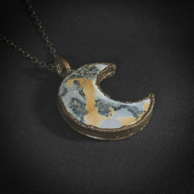 Maligano Jasper Copper Electroformed Moon Necklace