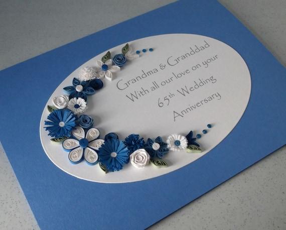 65th Wedding Anniversary Gift Ideas: Quilled 65th Sapphire Wedding Anniversary Card Handmade