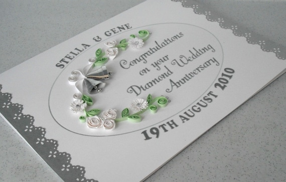 60th anniversary card diamond wedding paper quilling etsy image 0 m4hsunfo