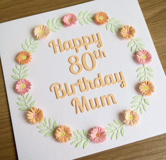 Quilled 80th Birthday Card Personalized With Name 21st