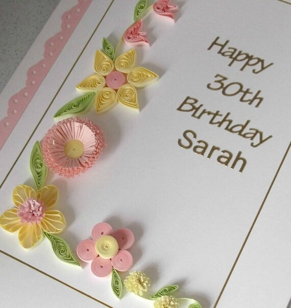 Quilled 30th Birthday Card Personalized Handmade Etsy