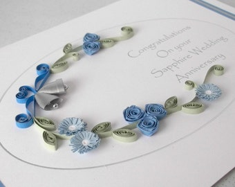 45th anniversary card, quilled, sapphire wedding