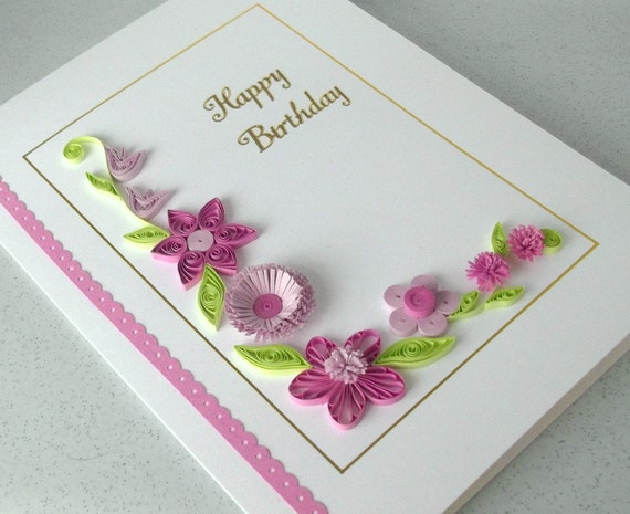 Paper Quilling Birthday Card Handmade Can Be Personalized For Any Age 40th 45th 50th 55th 60th 65th 70th 75th80th 90th 100th