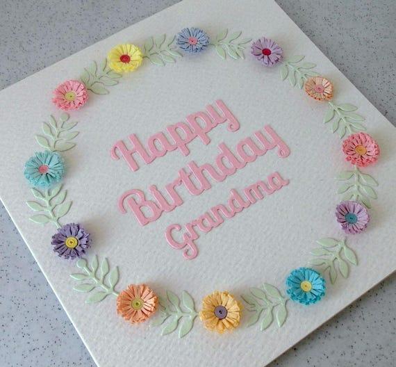 Papier Quilling Geburtstag Karte Glucklich Geburtstag Oma Etsy
