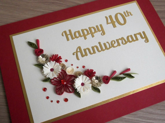 Gifts For A Ruby Wedding Anniversary: Quilled 40th Ruby Wedding Anniversary Card Handmade Paper