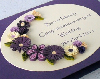 Wedding congratulations card with quilled flowers, personalized with names and date