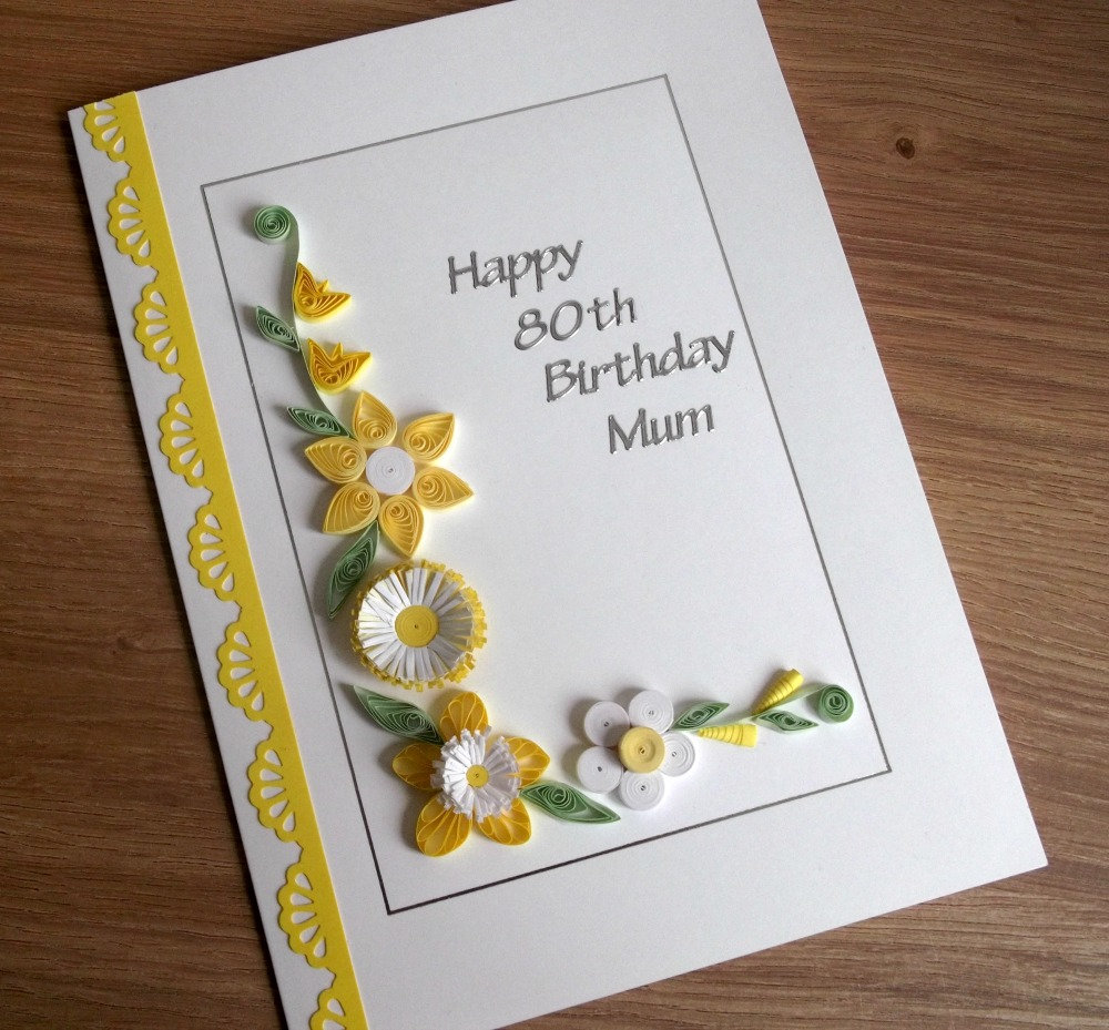 Quilled Personalised 80th Birthday Card Handmade 18th 21st