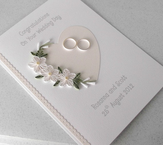 quilled wedding card paper quilling personalized  etsy