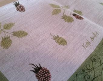 Vintage Faith Austin Raspberries Handkerchief