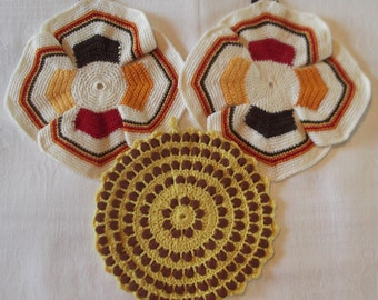 Lot Of Three Vintage Red, Brown, White And Yellow Crocheted Pot Holders Or Trivets