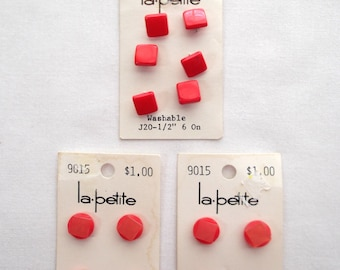 Lot Of Vintage Red Buttons - Square (3 Cards - 10 Buttons)