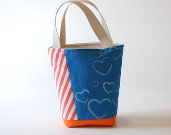 Mini Tote, Blue & Orange Stripes with Hearts