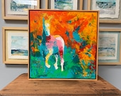 Zion - Modern Horse painting, Equestrian canvas painting, Original fine art - 21x21 inches Framed - Original Acrylic Canvas Art