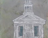United Church of Christ in Cornwall Congregational - Church art, original church painting, church art, Fine Art, acrylic painting, Liz Wiley