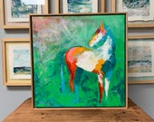 Rio Grand - Modern Horse painting, Equestrian canvas painting, Original fine art - 21x21 inches Framed - Original Acrylic Canvas Art