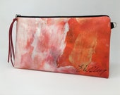 Painted Clutch #16, Painted Bag, Painted Purse, Canvas Bag, Canvas clutch, Unique, Statement Clutch, One of a Kind Bag with Dust Cover