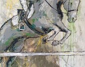 Combination - Large Modern Horse Painting, Equestrian, original Jumping Horse painting, canvas art, horse, Art, acrylic painting, Liz Wiley