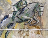 Jumper - Large Modern Horse Painting, Equestrian art, original Jumper Horse painting, canvas art, horse art, acrylic painting, Liz Wiley