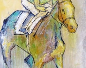 In The Money - Large modern Horse Painting, Equestrian art, original Race Horse painting, canvas art, horse, acrylic painting, Liz Wiley