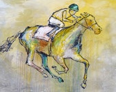 Stayer - Modern Horse Painting, Equestrian art, original Race Horse painting, canvas art, horse art, Fine Art, acrylic painting, Liz Wiley