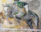 Clear Round - Large  modern Horse Painting, Equestrian art, original Jumper Horse painting, art, horse art, Art, acrylic painting, Liz Wiley