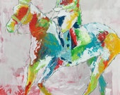 Modern Horse painting, Equestrian canvas painting, Original art - Large 30x30 inches Original Acrylic Canvas Painting, Abstract Painting