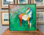 Rio Grand - Modern Horse painting, Equestrian canvas painting, Original fine art - 21x21 inches Framed - Original Acrylic Canvas Art
