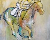 Stretch Runner - Modern Horse Painting, Equestrian art, original Race Horse painting, canvas art, horse art, Fine Art, painting, Liz Wiley