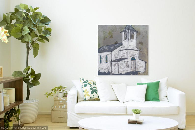 Church in Blissfield Michigan  Large Church Painting image 0