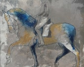 Grey Horse and rider - Modern Horse painting, Equestrian canvas painting, Large 40x40 inches Original, Canvas, fine art, Painting, Abstract