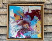 Wonderful World - Modern painting, canvas abstract painting, Original fine art - 11x11 inches Framed - Original Acrylic Canvas Art
