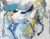 Blue Horse - Modern Horse painting, Equestrian canvas painting, Original fine art - Large 36x36 inches Original Acrylic Canvas Painting,