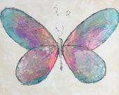 Cheerful - Butterfly painting, Butterfly canvas painting, Original fine art - Large 20x20 inches Original Acrylic Canvas Painting,
