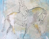 Horse and Rider - Modern Horse painting, Equestrian canvas painting, Original fine art - Large 20x20 inches Original Acrylic Canvas Painting