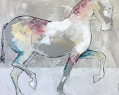 Sundance - Modern Horse painting, Equestrian canvas painting, Original fine art - Large 36x36 inches Original Acrylic Canvas Painting,