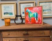 Flagstaff - Modern Horse painting, Equestrian canvas painting, Original fine art - 11x11 inches Framed - Original Acrylic Canvas Art