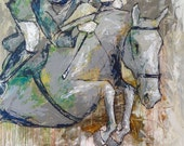 Jump Off - Large Modern Horse Painting, Equestrian art, original Jumper Horse painting, canvas art, horse, acrylic painting, Liz Wiley