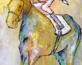 Stakes Horse - Modern Horse Painting, Equestrian art, original Race Horse painting, canvas art, horse art, Fine Art, painting, Liz Wiley