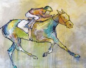 On the Nose - modern Horse Painting, Equestrian art, original Race Horse painting, canvas art, horse art, Art, acrylic painting, Liz Wiley